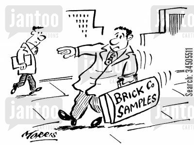 sales representative cartoon humor: Sales rep with heavy bag of 'Brick Company' samples.