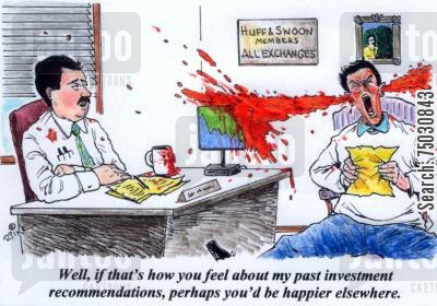 blood pressure cartoon humor: 'Well, if that's how you feel about my past investment recommendations, perhaps you'd be happier elsewhere.'