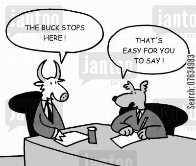 the buck stops here cartoon humor: The buck stops here.