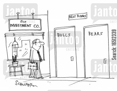 bull markets cartoon humor: Rest Rooms - bullsbears.