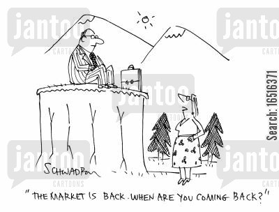 bull market cartoon humor: 'The market is back. When are you coming back?'