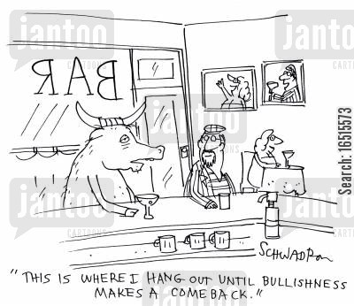 bull market cartoon humor: 'This is where I hang out until bullishness makes a comeback.'