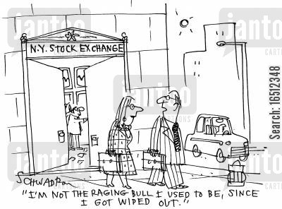 bull markets cartoon humor: 'I'm not the raging bull I used to be, since I got wiped out.'
