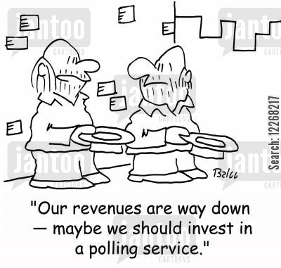 polling service cartoon humor: 'Our revenues are way down - maybe we should invest in a polling service.'