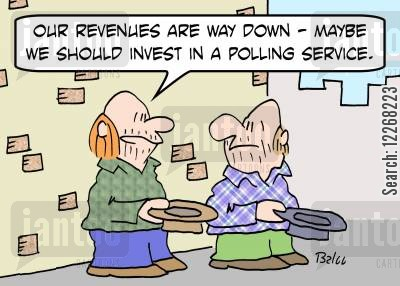 polling service cartoon humor: 'Our revenues are way down -- maybe we should invest in a polling service.'
