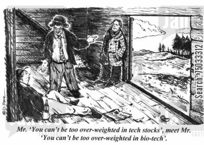 brokerage cartoon humor: 'Mr. 'You can't be too over-weighted in tech stocks', meet Mr. 'You can't be too over-weighted in bio-tech'.'