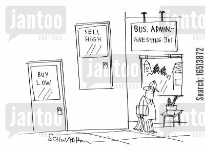 bus companies cartoon humor: Bus. Admin. Investing.