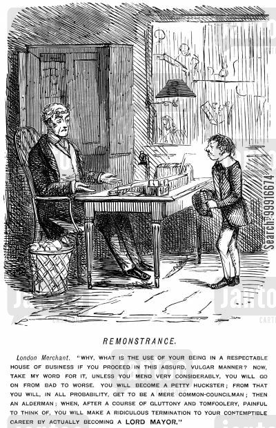 merchants cartoon humor: London merchant telling a young employee that if he does not change his behaviour his career will go badly and he may end up becoming mayor