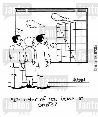 tower block cartoon humor: 'Do either of you believe in omens?'