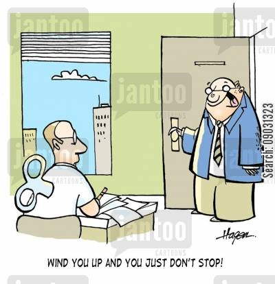 robot worker cartoon humor: 'Wind you up and you just don't stop!!'