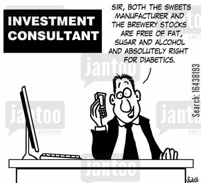 manufacturers cartoon humor: 'Sir, both the sweets manufacturer and the brewery stocks are free of fat, sugar and alcohol and absolutely right for diabetics.'