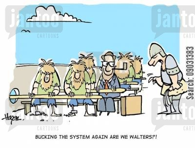 slave trade cartoon humor: 'Bucking the system again are we Walters?!'