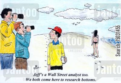 analyze cartoon humor: 'Jeff's a Wall Street analyst, too. We both come here to research bottoms.'