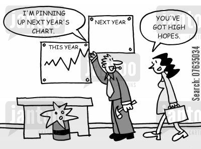 business profit cartoon humor: I'm pinning up next year's chart. You've got high hopes.