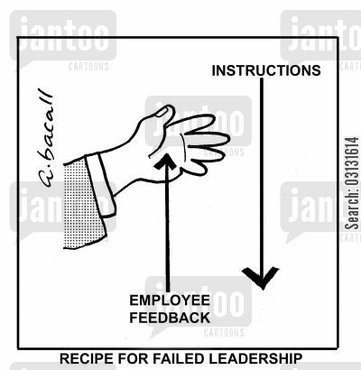 employee feedback cartoon humor: Recipe for Failed Leadership.