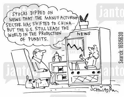economic report cartoon humor: 'Stocks dipped on the news that the manufacturing . . .'