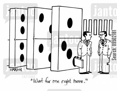 business rival cartoon humor: 'Wait for me right here.'