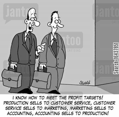 profit target cartoon humor: 'I know how to meet the profit targets! Production sells to customer service, customer service sells to marketing, marketing sells to accounting, accounting sells to production!'