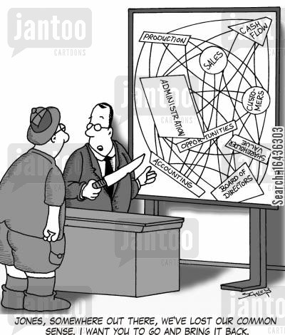 strategy meetings cartoon humor: 'Jones, somewhere out there, we've lost our common sense. I want you to go and bring it back.'