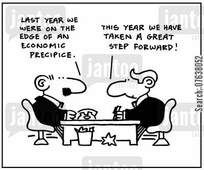 economic troubles cartoon humor: 'Last year we were on the edge of an economic precipice. This year we have taken a great step forward!'