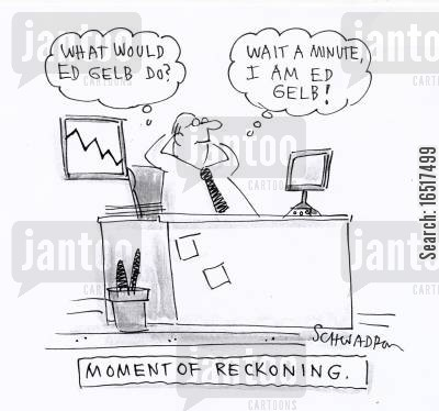 realisation cartoon humor: Moment of reckoning.