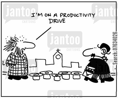 street sellers cartoon humor: I'm on a productivity drive.