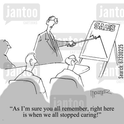 economic downturn cartoon humor: 'As I'm sure you all remember, right here is when we all stopped caring!'