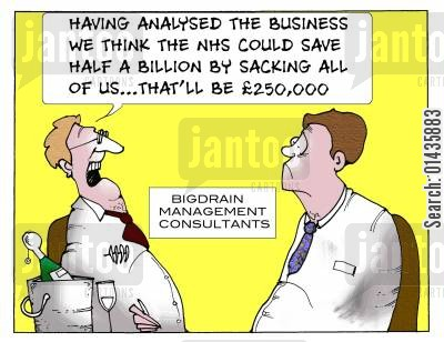 business analysts cartoon humor: 'Having Analysed the business we think the NHS could save half a billion by sacking all of us...that'll be £250,000.'