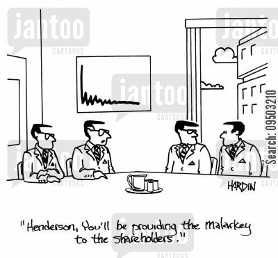 shareholding cartoon humor: 'Henderson, you'll be providing the malarkey to the shareholders.'