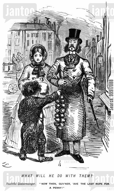 costermongers cartoon humor: Young costermonger trying to sell to a gentleman.