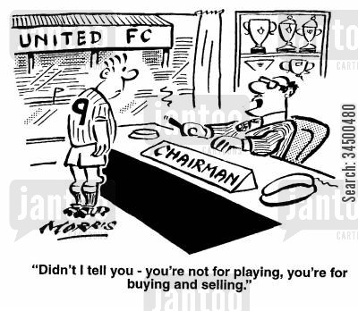 buying and selling cartoon humor: Didn't I tell you, you're not for playing, you're for buying and selling