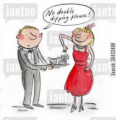 christmas party cartoon humor: No double dipping please!