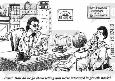 equities cartoon humor: 'Pssst! How do we go about telling him we're interested in growth stocks?'