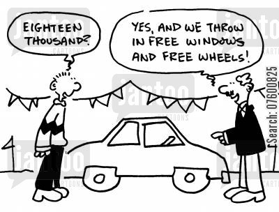 package deal cartoon humor: Car salesman
