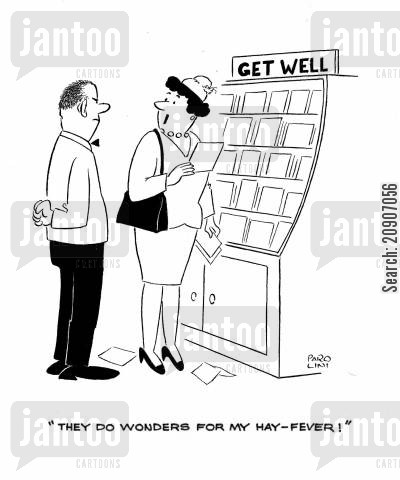 medical drugs cartoon humor: 'They do wonders for my hay-fever.'