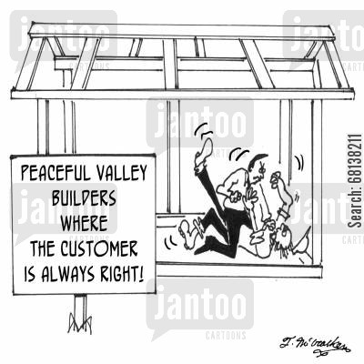 roofer cartoon humor: Fearing insurance rate increases if he had another accident claim, Dave tries a new harness system.