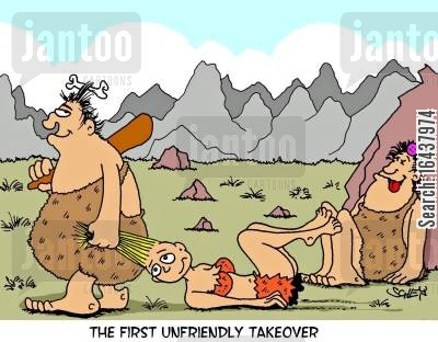corporate ethics cartoon humor: The first unfriendly takeover