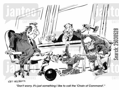restraint cartoon humor: Don't worry. It's just something I like to call the 'Chain of Command...