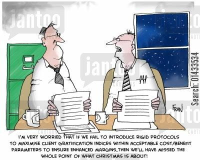 motivating change cartoon humor: 'I'm very worried that if we fail to introduce rigid protocols to maximise client gratification indices within acceptable costbenefit parameters to ensure enhanced margins...then we'll have missed the whole point of what Christmas is about!!!'
