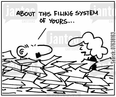 filing system cartoon humor: 'About this filing system of yours...'