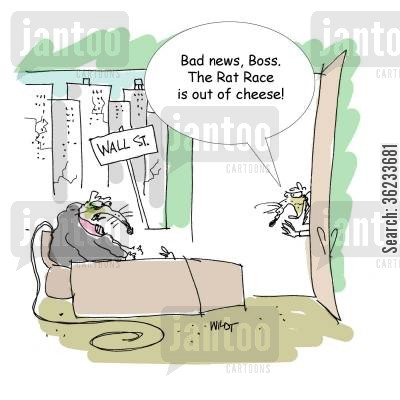 big cheese cartoon humor: Bad news, boss. The rat race is out of cheese!
