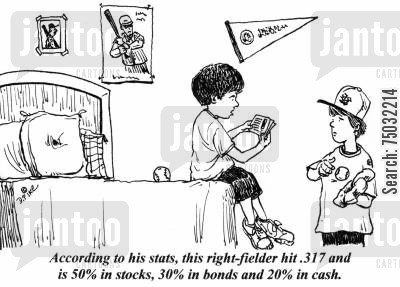 baseball cards cartoon humor: 'According to his stats, this right-fielder hit .317 and is 50 in stocks, 30 in bonds and 20 in cash.'