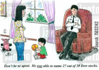pushy parents cartoon humor: 'Don't be so upset. He was able to name 27 out of 30 Dow stocks.'