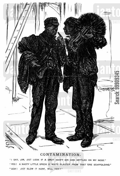 chimney brushes cartoon humor: Two Chimney Sweeps.
