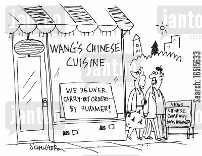 chinese cuisine cartoon humor: We deliver carry out orders by Hummer.