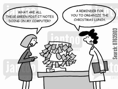 christmas lunches cartoon humor: The post-its are a reminder for you to organise the Christmas lunch.