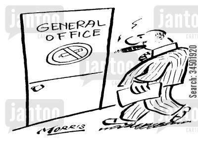 exception cartoon humor: General Office with No-Smoking Sign