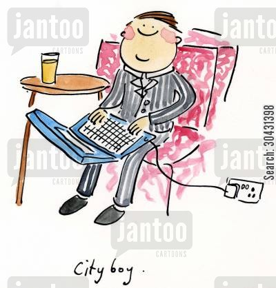 canary wharf cartoon humor: City Boy.