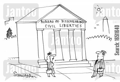 bureaus cartoon humor: Bureau of Disappearing Civil Liberties.