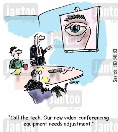 technicians cartoon humor: Call the tech. Our new video-conferencing equipment needs adjustment.